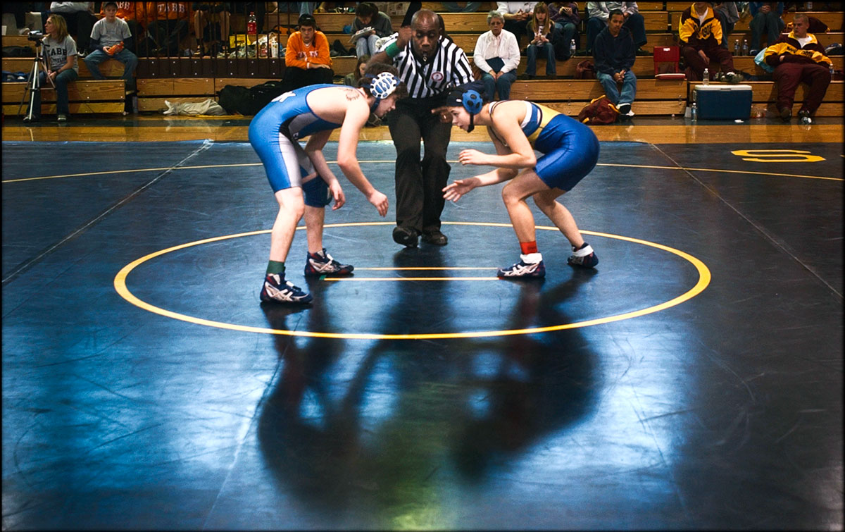 Warry Woodard, right, and Zach Williamson start their consolation match in Bay Rivers District tournament.