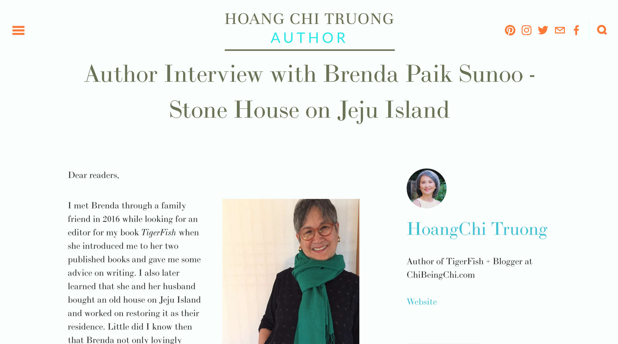 HoangChi Truong, author of TigerFish + Blogger at ChiBeingChi.com, interviews Brenda:https://www.chibeingchi.com/authors-community/2018/11/30/author-interview-with-brenda-paik-sunoo?fbclid=IwAR3WW7p7G7LIxg_-WNQlAY2zuwUI7qK7nooa8RZrhTwY0DMyM5W61kjh0LY