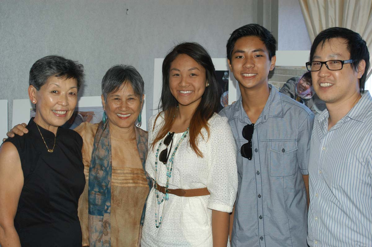 Left to right: Elaine Murata Sunoo, author, granddaughter Jolena, grandson Devon and David Sunoo.