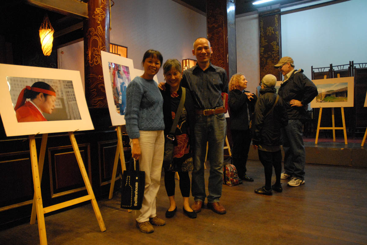 Left to right: Artist Mai Anh, author and artist's husband, Thanh.