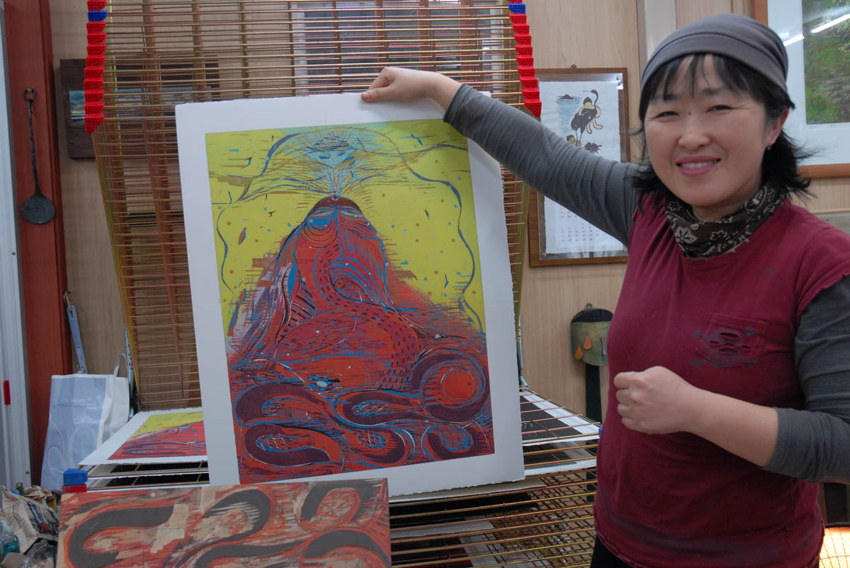 Artist Hong Jin-suk, who provided illustrations of her woodcuts in {quote}Moon Tides.{quote}