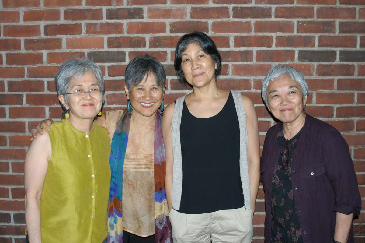 Left to right: Karen Asakawa, author, Tomie Arai, Teddy Yoshikami
