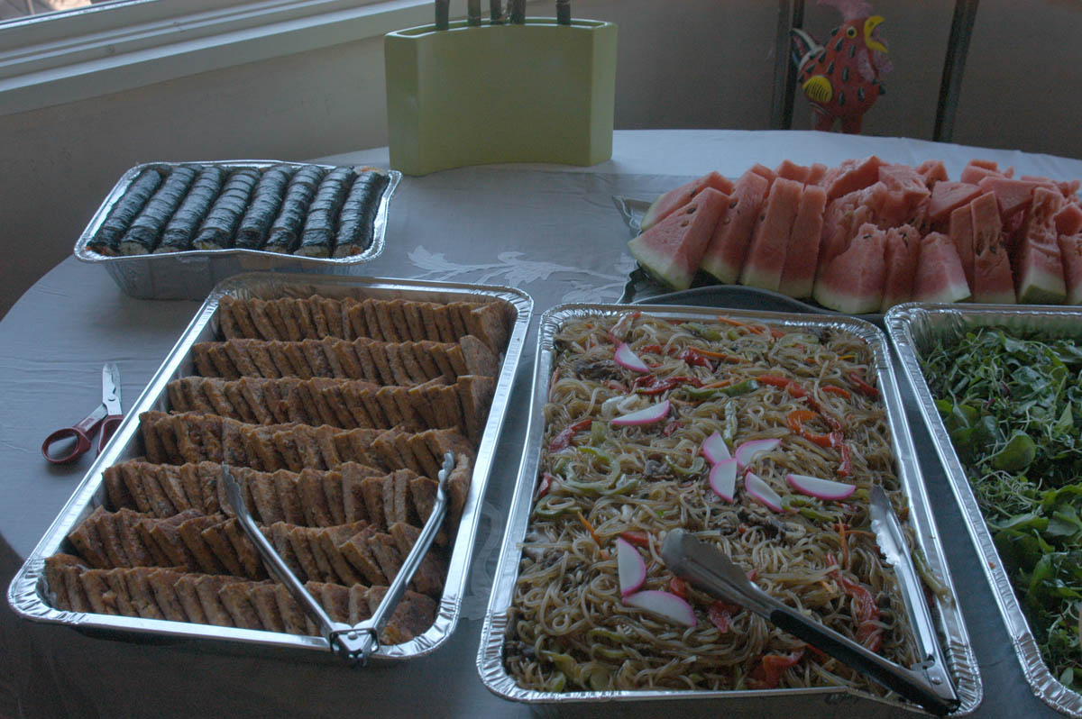 Some catered food from Koreana Market in Oakland.