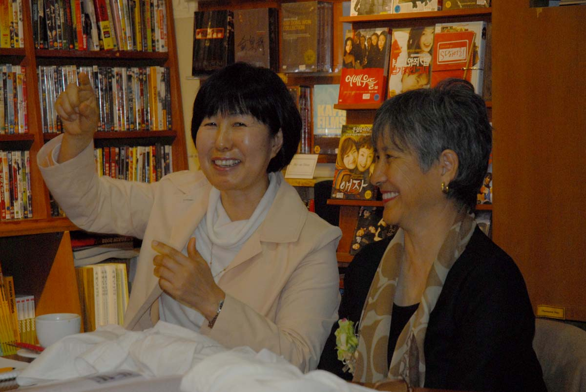 Moon Tides translator/interpreter Han Young-sook, and author Brenda Paik Sunoo.