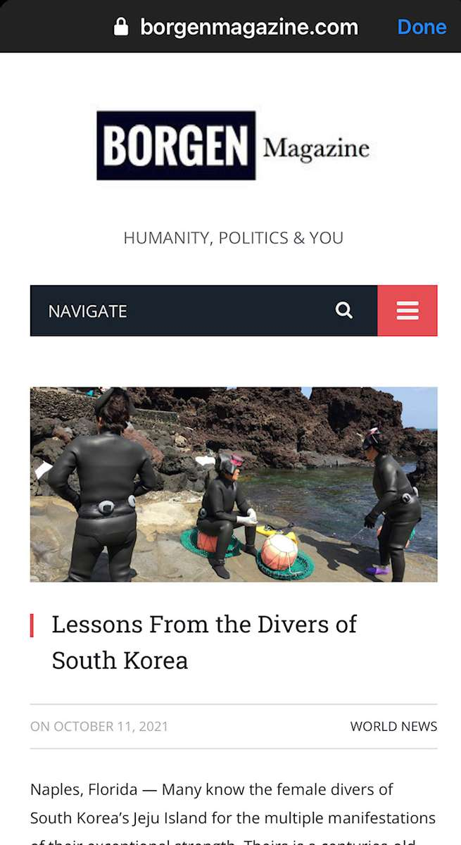 Lessons From the Divers of South KoreaBorgen MagazineOctober 11, 2021https://www.borgenmagazine.com/divers-of-south-korea/