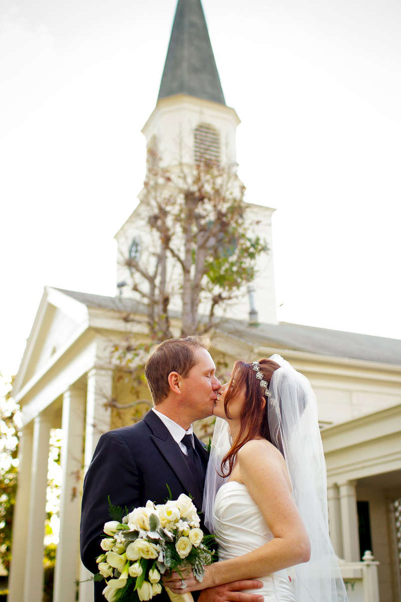 Community-Congregational-church-bride-and-groom-outside-