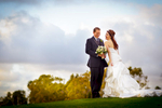 Newport-Beach-Country-Club-at-sunset-with-bride-and-groom