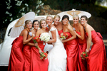 red-bridesmaid-dresses-with-white-umbrella