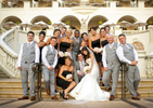 wedding-party-on-stairs-at-pelican-hill-at-sunset