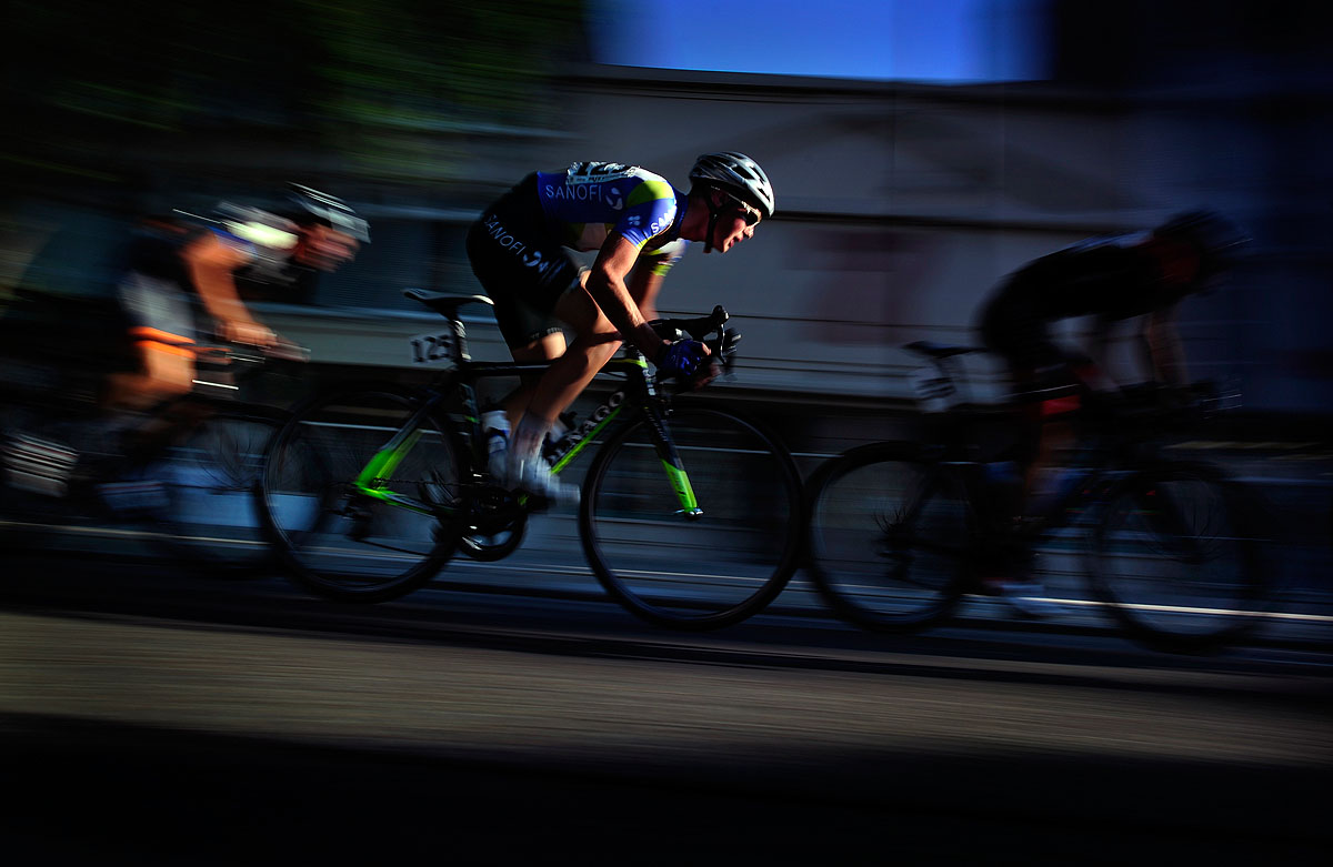 Men's 18-23 year-old cyclists race down Broad Street in Augusta during the USA Cycling National Championships Friday evening. Michael Holahan