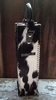 A Black & White Brazilian Hair-on Cowhide Single Bottle Wine Bag