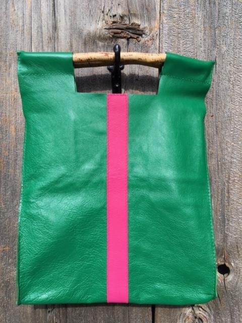 Full Grain Italian Green with Pink Stripe