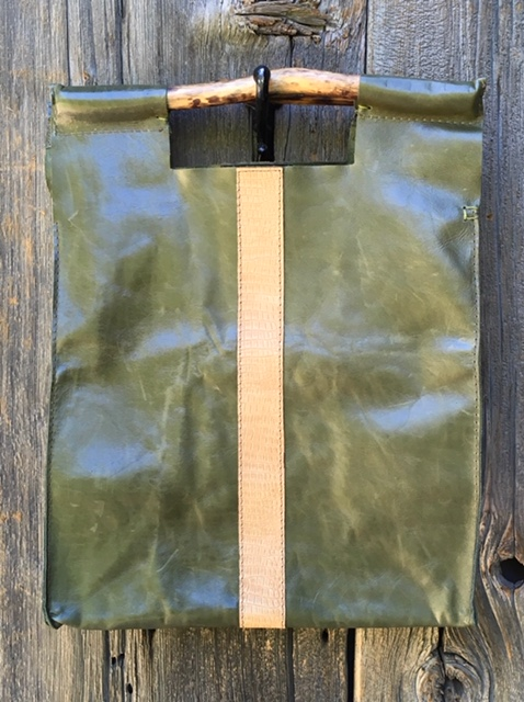 Italian Olive with Hornback Embossed Tan Stripe