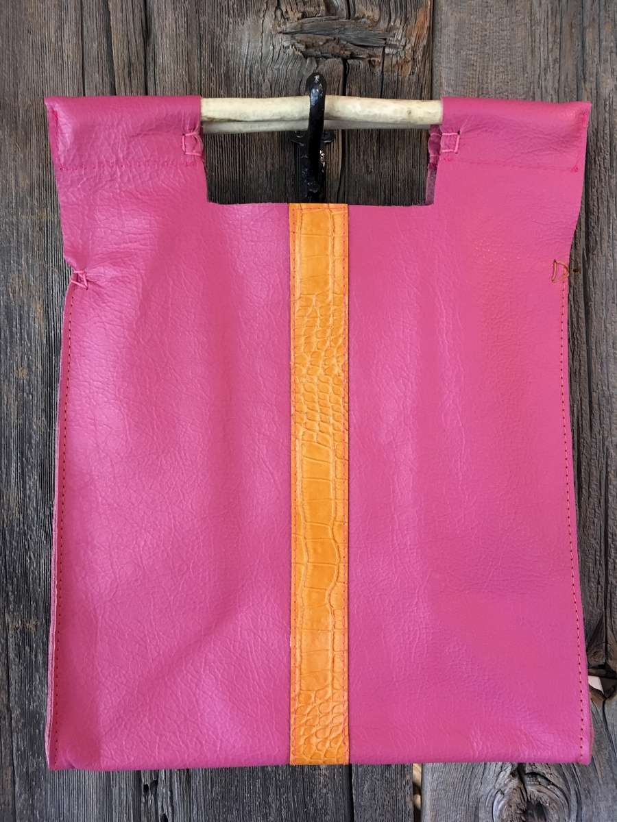 Pink with Croc Embossed Orange Stripe