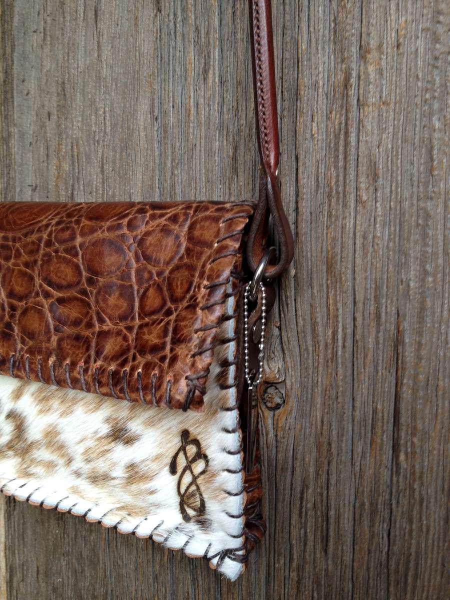 Brown Croc Embossed Leather paired with Browns, Tan and White Spotted Brazilian Hair-On Cowhide.Brown Amish Horse Bridle Strap