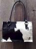 Ladies Large Black & White Hair-on Brazilian Cowhide Handbag