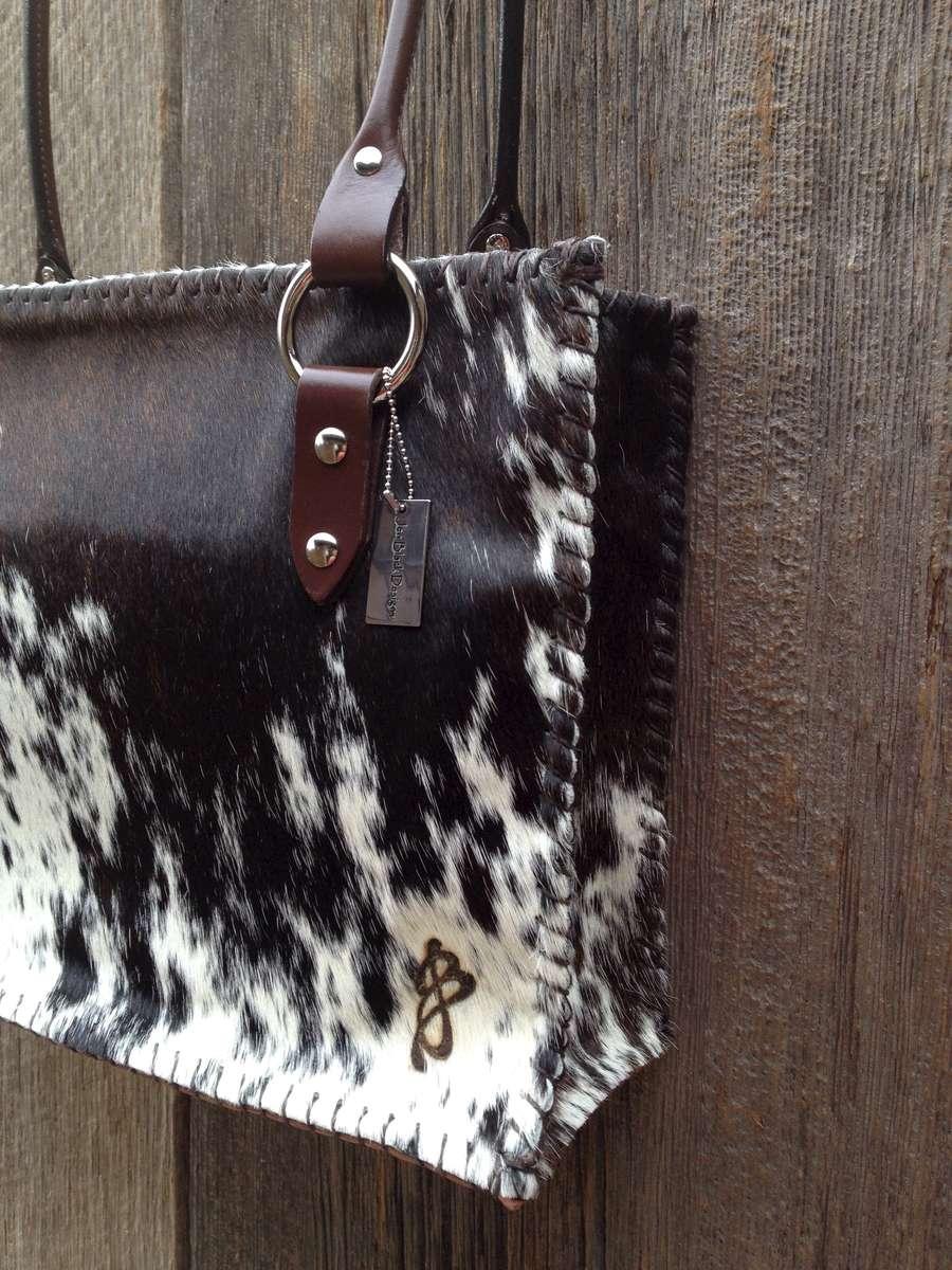 Deep Brown and White Large Bag