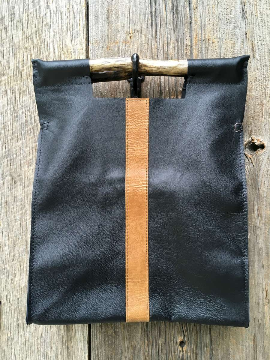 Full Grain Black with Brown Stripe
