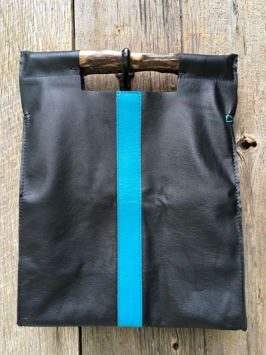 Full Grain Black with Turquoise Stripe