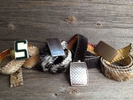 Assorted buckles with assorted natural hair-on hides
