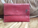 A Red Croc Embossed Leather iPad Case