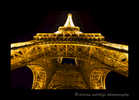 A night scene of the Eiffel Tower in Paris.