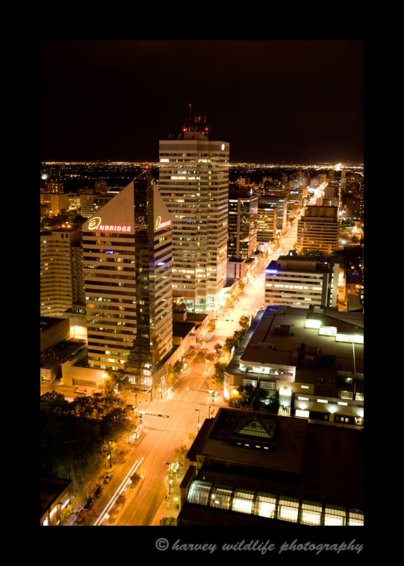 Aerial photograph of Jasper Avenue at night.