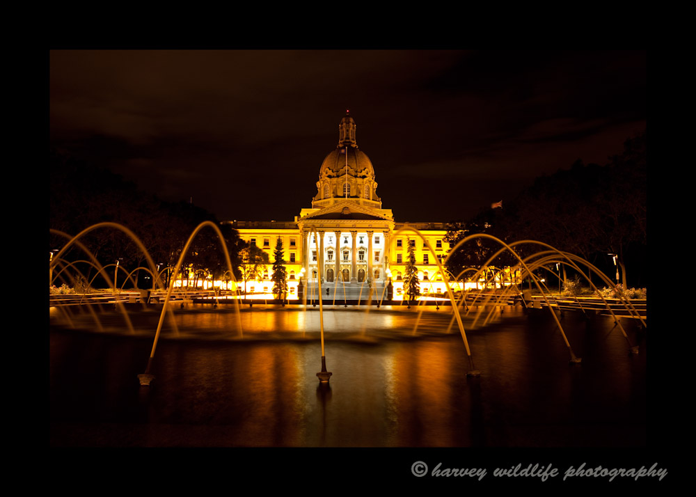 Alberta Legislature at night in Edmonton.