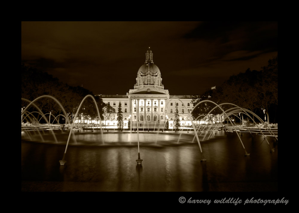 This picture is a sepia version of the Edmonton Legislature at night.