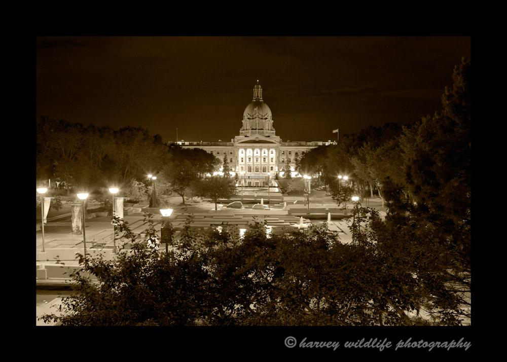 Sepia picture of the Alberta Legislature in Edmonton.