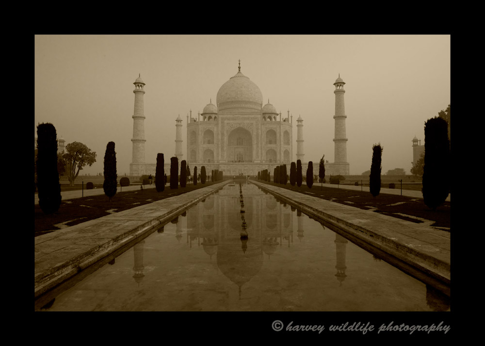 Another version of the Taj Mahal at the entrance. I made this picture in a sepia style to give the building an {quote}anchient{quote} feel as it was built in the 1600's.