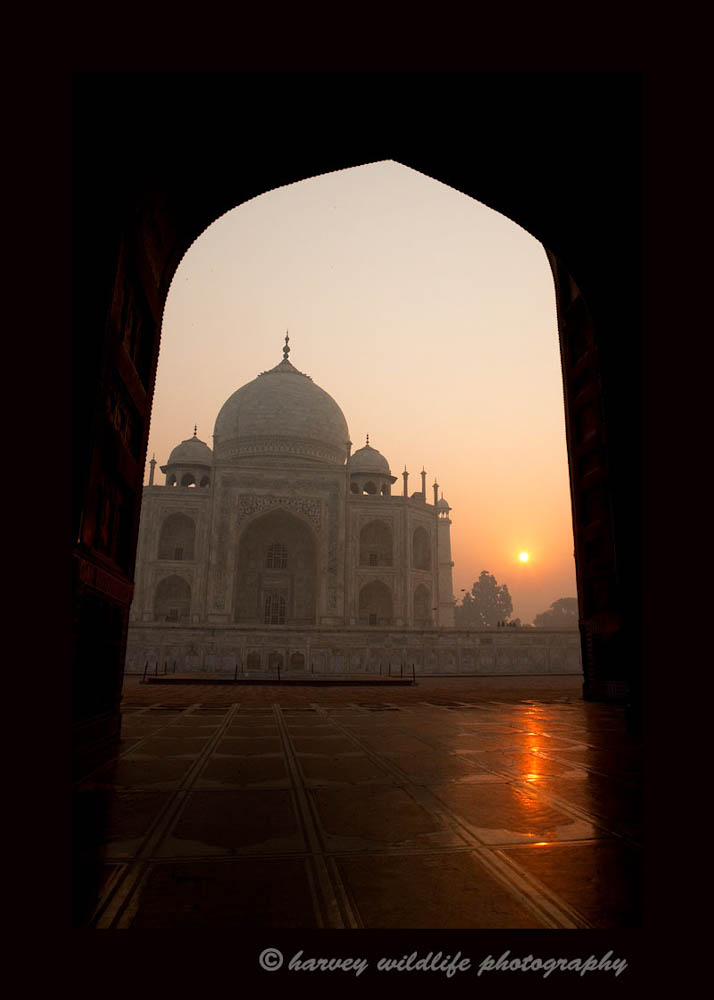 Sunrise over the Taj Mahal.