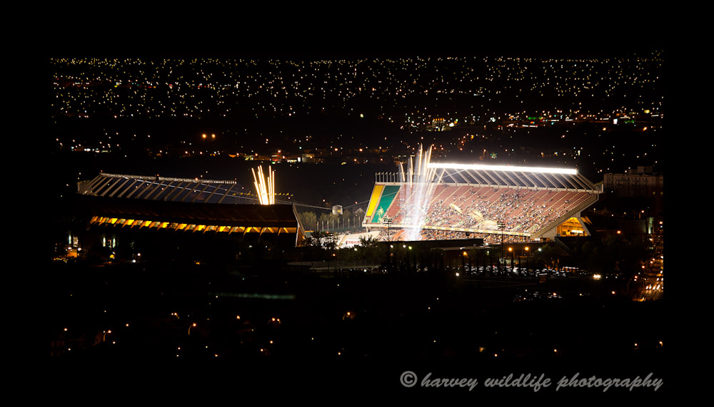 Celebrations from an Edmonton Eskimo game at the Commonwealth Stadium.