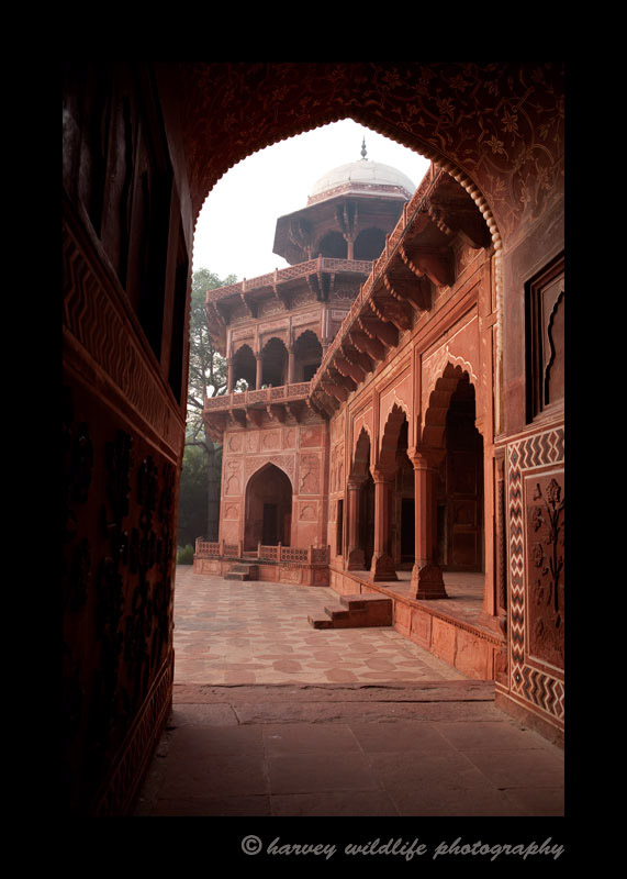 This photograph was taken from the halway of the west mosque at the Taj Mahal. You aren't allowed to wear your shoes in the mosque. You have to walk around in your sock feet while visiting the mosque.