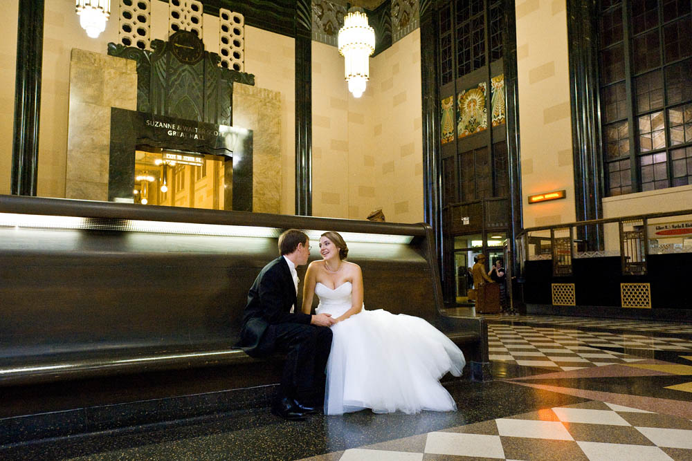 Photo of bride and groom in lobby at the Durham Museum in Omaha