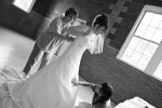 Photo of bride dressing at Coryell Park, Nebraska