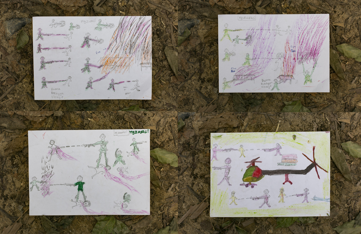 Childrens drawings, depicting horrifying scenes they witnessed in Myanmar