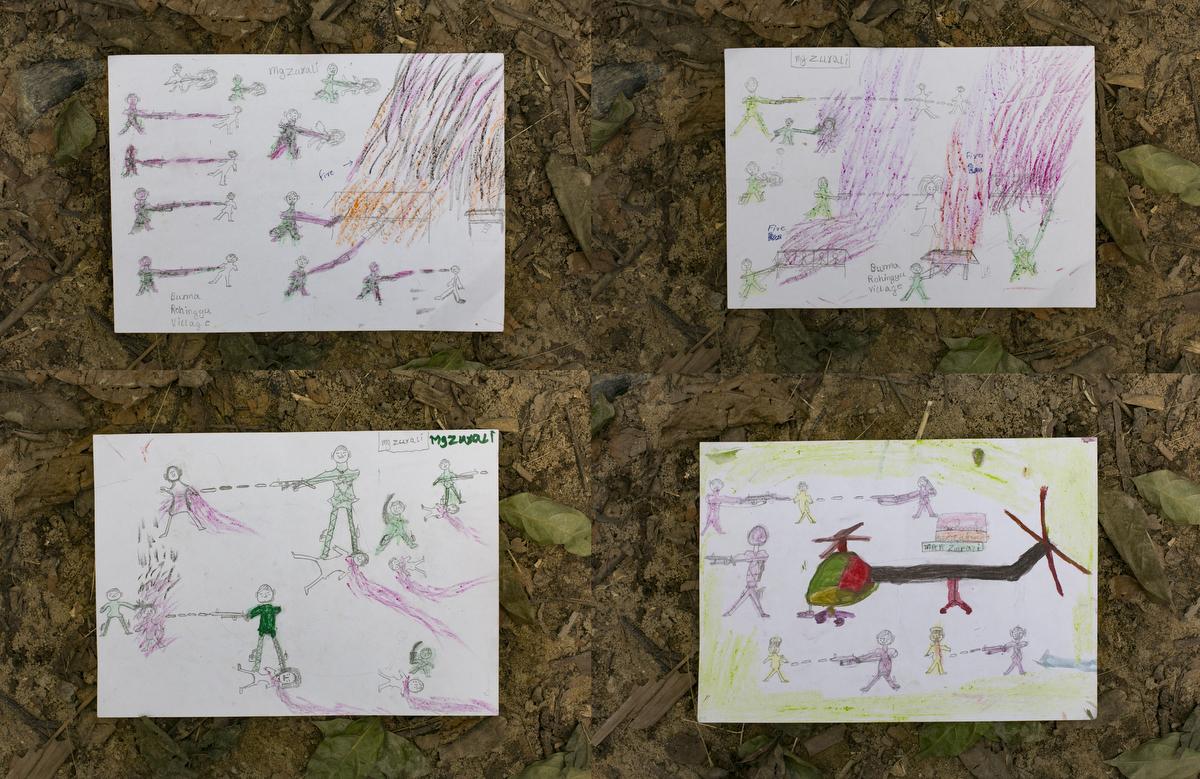 Childrens drawings, depicting horrifying scenes they witnessed in Myanmar