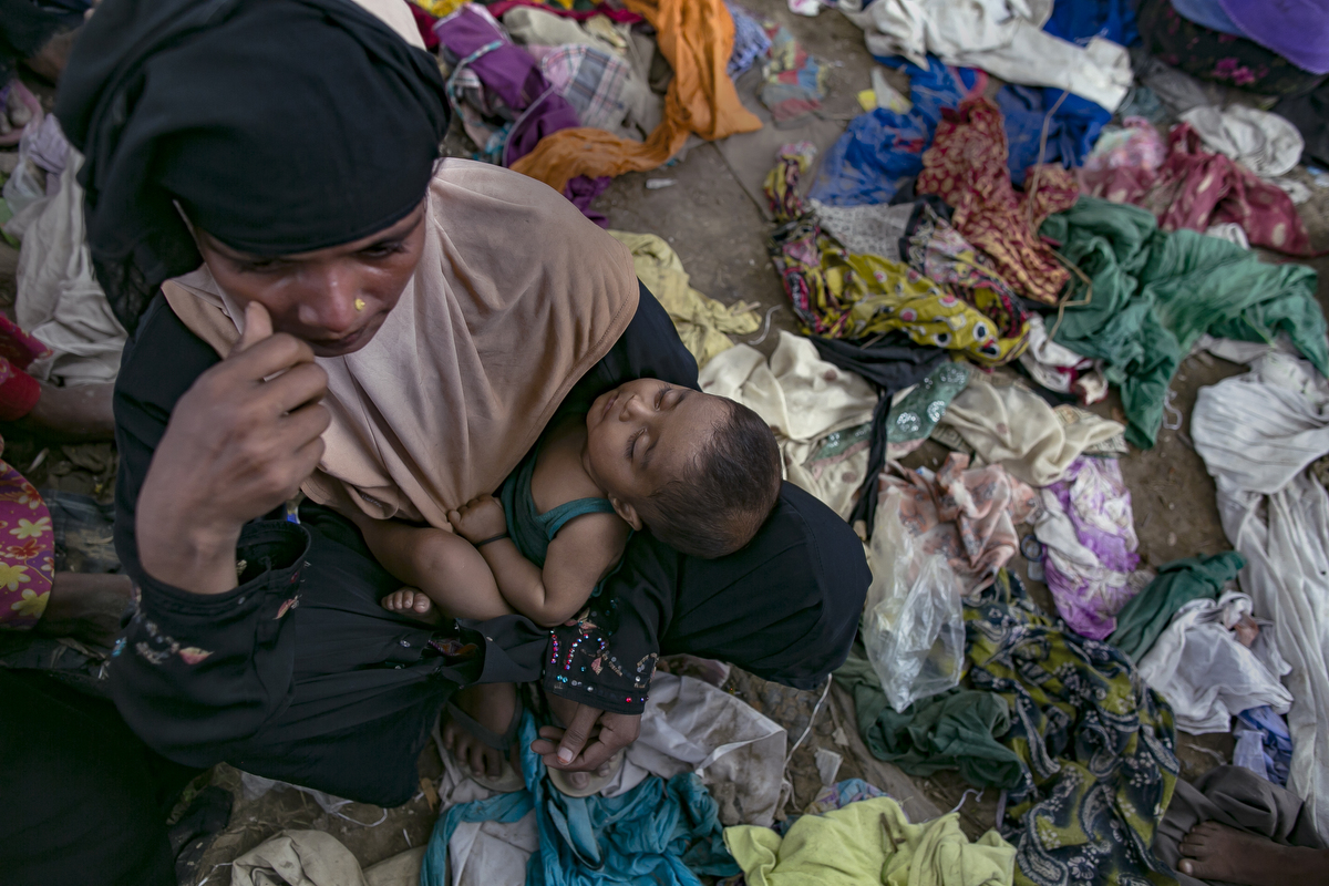 Rohingya are seen in an informal settlement