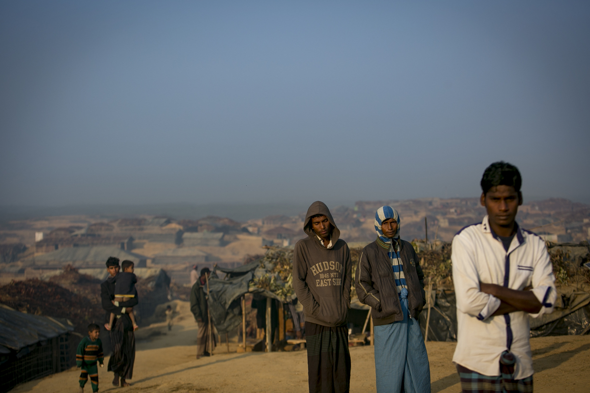 Refugees are seen in Kutapalong Rohingya refugee camp