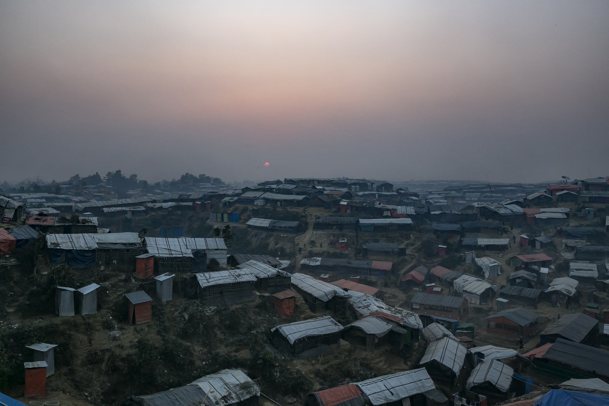 The sun sets over Balukhali camp