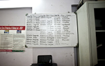 A board is seen in the law office of the Rescue Foundation in India listing open trafficking cases that their legal team is prosecuting.