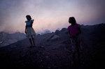 Young girls are seen in Bokahapadi Village, Jharia.