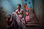 Sex workers and children who have been born into the brothel are seen in Faridpur, Bangladesh
