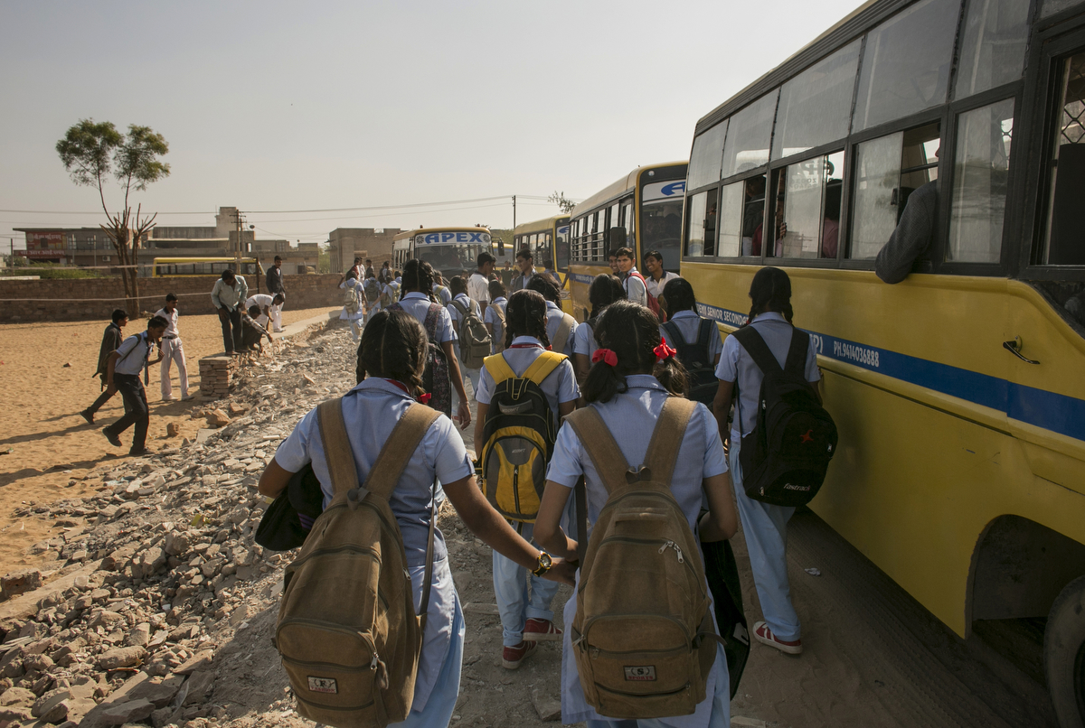 Girls leave school