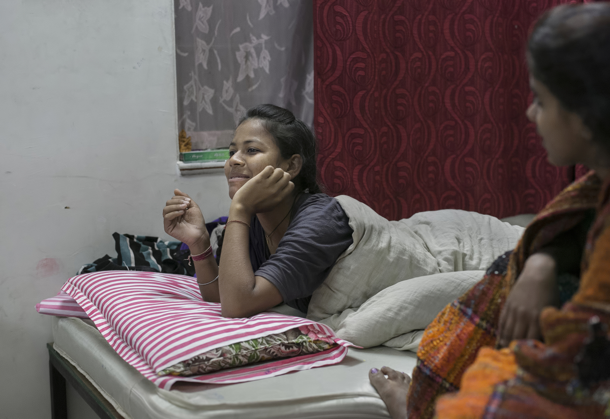 Shobha, 14, hangs with her friends at the Veerni Institute