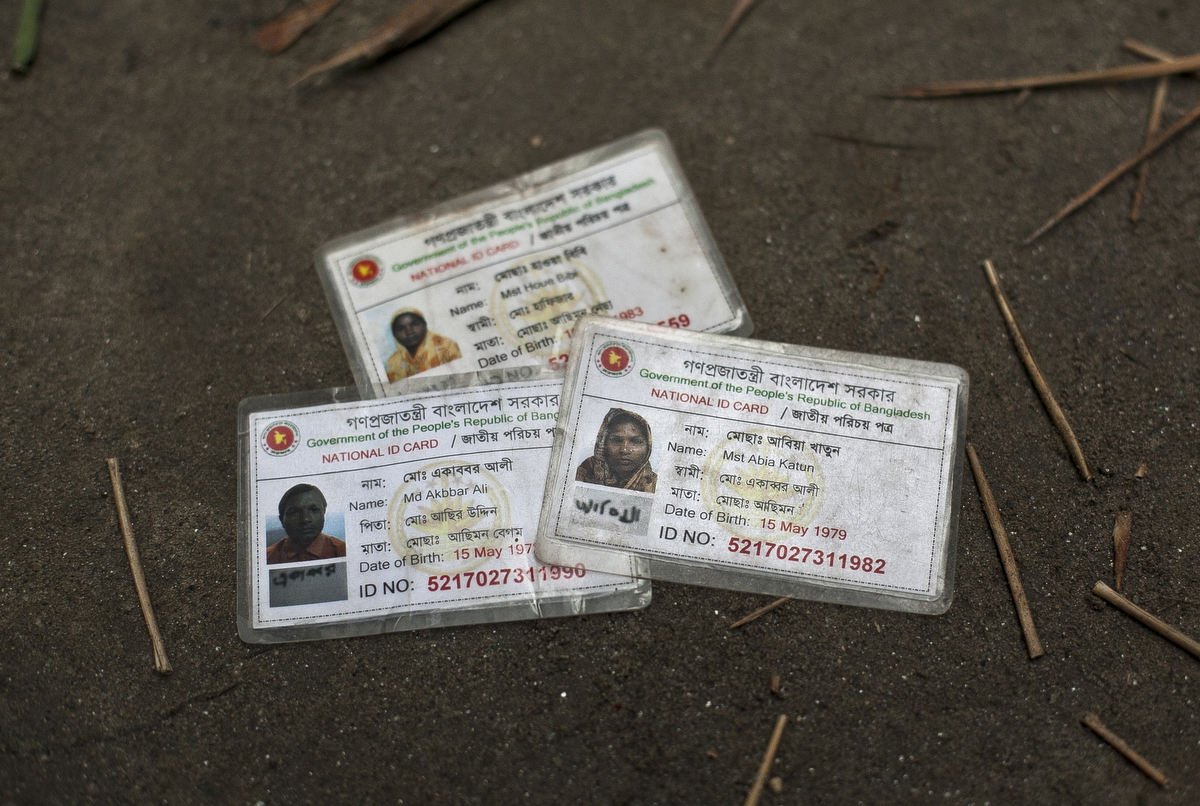 Fake national ID cards of Bash Kata Indian enclave residents are seen in Lalmonirhat District, Bangladesh.