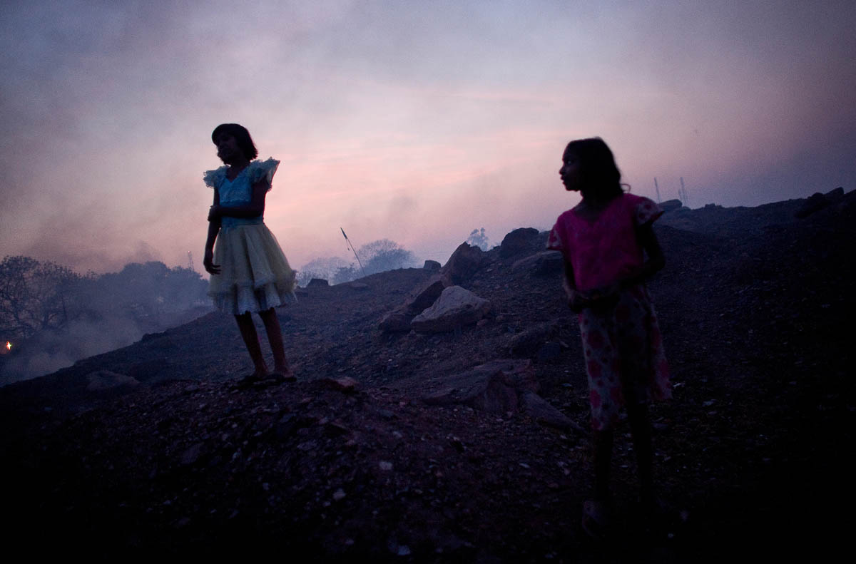 Young girls are seen in Bokahapadi Village, Jharia