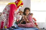 Patients are treated at the Samaritan's Purse diphtheria clinic in Balukhali Rohingya refugee camp January 23, 2018 in Chittagong district, Bangladesh. Allison Joyce for NPR.