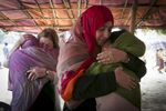 Mairead Maguire and Tawakkol Karman meet with Rohingya in {quote}No Man's Land{quote} February 27, 2018 in Cox's Bazar, Bangladesh. Photo by Allison Joyce for Nobel Women